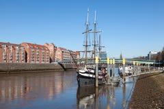 Gammalt piratkopiera skeppet i Bremen, Tyskland Fotografering för Bildbyråer