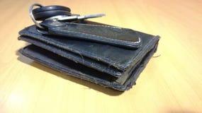 Gammalt plånbokläder arkivbild
