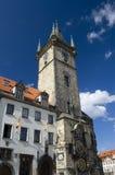 gammalt prague för klocka torn Arkivfoto