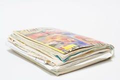 Gammalt röra sig i spiral anteckningsboken med rekord Fotografering för Bildbyråer