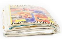 Gammalt röra sig i spiral anteckningsboken med rekord Arkivbilder
