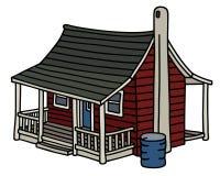 Gammalt rött scandinavian hus royaltyfri illustrationer
