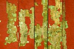 Gammalt rött staket. Arkivfoto