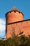 gammalt rött torn för tegelstenfästning Royaltyfri Foto