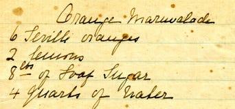 gammalt recept för detaljhandskrift Arkivbilder