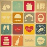 Gammalt Retro kort för bröllopinbjudan Royaltyfria Bilder