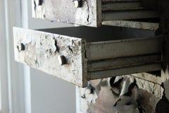 Gammalt ridit ut träkabinett med skalningsmålarfärg på övergiven skolabyggnad royaltyfri bild