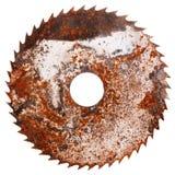 Gammalt rostigt cirkelsågblad Arkivfoton