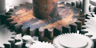Gammalt rostigt metallkugghjul på plast- ny kugghjulbakgrund illustration 3d vektor illustrationer