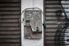 Gammalt rostigt telefonfoto som tas i yogyakarta indonesia Arkivfoton