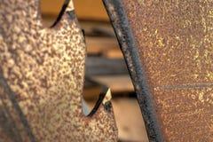 Gammalt rostigt wood klipp såg tung makro Arkivbilder