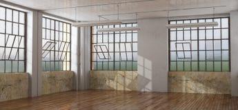 Gammalt rum i en vind Arkivfoto