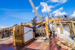 Gammalt segelbåtdäck Fotografering för Bildbyråer