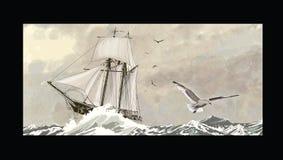 Gammalt segla skepp på ett grovt hav vektor illustrationer