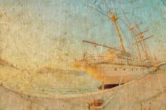 Gammalt seglingskepp i solnedgångljus Arkivbilder