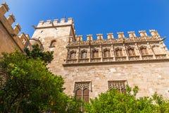 Gammalt siden- utbyte, Valencia, Spanien Arkivbilder