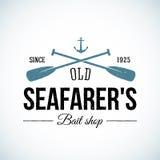 Gammalt sjömanbete shoppar tappningvektorlogo stock illustrationer