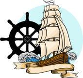 Gammalt skepp för vektor Plan tecknad filmillustration för vektor royaltyfri illustrationer