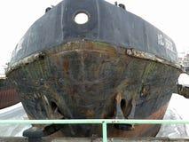 Gammalt skepp i port royaltyfria foton