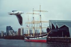 Gammalt skepp på floden och seagullen Arkivbild