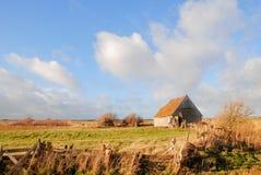 Gammalt skjul i det Texel landskapet Arkivfoton