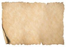 Gammalt slitet papper eller översiktsark som isoleras på vit royaltyfria foton