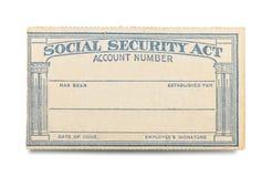Gammalt socialförsäkringhandlingskort arkivfoton