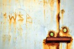 Gammalt stål svetsade dörrar Arkivfoto