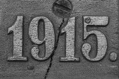 Gammalt stålID-Märke med nummer 1915 Royaltyfria Foton