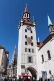 Gammalt stadshus av Munich på Marienplatz, Tyskland, 2015 Arkivbild