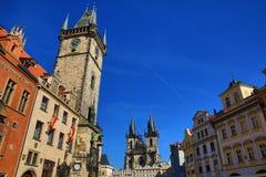 Gammalt stadshus, historiska byggnader, Prague, Tjeckien Arkivbilder