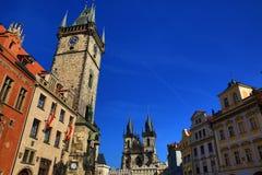 Gammalt stadshus, historiska byggnader, Prague, Tjeckien Royaltyfri Bild