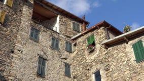 Gammalt stenhus i liguria, Italien stock video