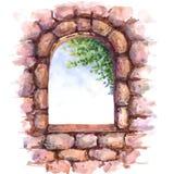 gammalt stenväggfönster Arkivbild