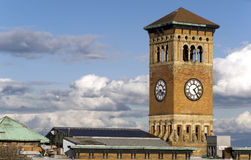 Gammalt Tacoma stadsHall Brick Building Architectural Clock torn royaltyfri fotografi
