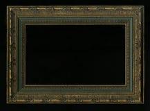 Gammalt tappning, antik ram som isoleras på svart bakgrund royaltyfri bild