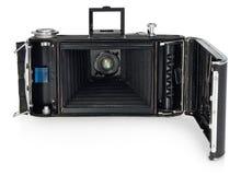 Gammalt tappning, den antika kameran, sikten av det tillbaka öppna den inre mekanismen Royaltyfri Foto