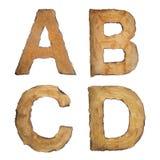 Gammalt tappningalfabet ABCD Fotografering för Bildbyråer