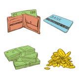 Gammalt tappningteckningstecken av pengar Arkivbilder