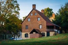 Gammalt tegelstenhus i den gamla Salem Historic District, i Winston-S Fotografering för Bildbyråer