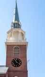 Gammalt tegelstenklockatorn i Boston Fotografering för Bildbyråer