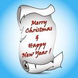 Gammalt tomt snirkelpapper med röd jul smsar. Fotografering för Bildbyråer