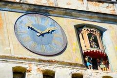 gammalt torn för center novigrad för klockacroatia detalj romania sighisoara Royaltyfri Foto