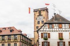 Gammalt torn i Alsace Arkivbilder