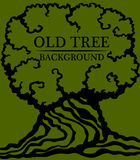 gammalt trä för bakgrund Bild av en stor stam och en tät krona av ett gammalt träd Vektor Illustrationer