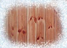 gammalt trä för bakgrund Snö på brädena vita röda stjärnor för abstrakt för bakgrundsjul mörk för garnering modell för design Arkivfoto