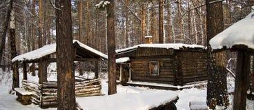 gammalt trä för kabin Arkivfoto