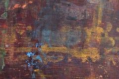 Gammalt träbräde med målarfärgfläckar Royaltyfri Fotografi