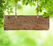 Gammalt träbräde med naturen royaltyfri bild