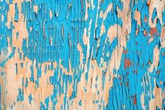 Gammalt träbräde som målas i blått arkivbild